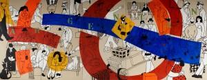 Tableau (huile sur toile) 3m x 7.50 m. Hommage à Fernand Léger Gare d'Argentan