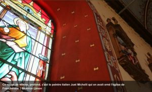 OF - 17 juin 2016 - Les décors peints dans l'église de Francheville par Just Michelli en 1896 s'abîmaient trop : une restauration s'avérant bien trop coûteuse, la restitution des motifs Art Nouveau a été confiée aux peintres décorateurs Hugues et Jean-François Sineux.
