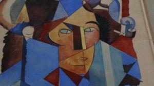 OF 20/09/2016 - Elle orne le pignon du bâtiment du Sitcom, près du donjon d'Argentan. L'autoportrait cubiste d'André Mare a été reproduit par le peintre Jean-François Sineux.  Le mur aveugle qui bouchait la place Mahé, près du donjon, est maintenant une fenêtre ouverte sur l'art. Le peintre argentanais Jean-François Sineux a achevé la fresque reproduisant l'Autoportrait cubiste de son illustre prédécesseur, André Mare.